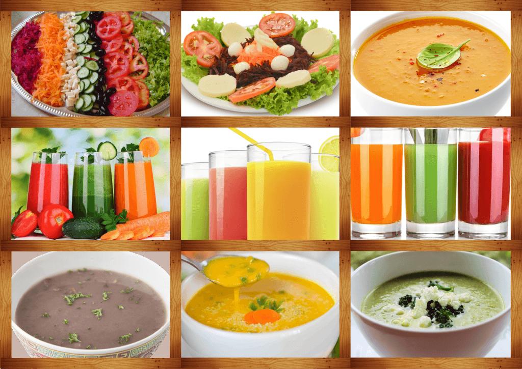 Sucos, Saladas, Caldos e Sopas